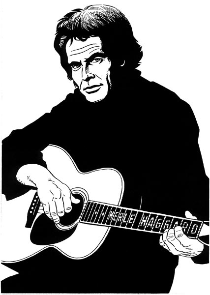 """Merle Haggard illustration"" is copyright ©2008 by Jaime Hernandez.  All rights reserved.  Reproduction prohibited."