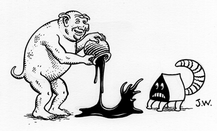 """INK BEAST"" is copyright ©2008 by Jim Woodring.  All rights reserved.  Reproduction prohibited."